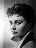 Jean Simmons Portrait in Grey Linen Tweed Suit with White Collar Foto af  Movie Star News