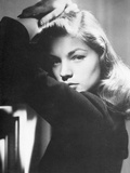 Lauren Bacall Leaning in Black and White Photo by  Movie Star News