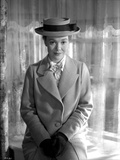 Jane Wyman Portrait in White Linen Tweed Coat and White scarf with Black Velvet Gloves and Flat Hat Photo by  Movie Star News