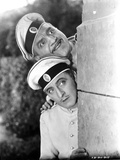 John Barrymore Peeking from a Wall with a Guy in a Classic Movie Scene Photo by  Movie Star News
