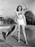 Jane Withers Posed in White V-Neck Short Sleeve Shirt and Flip Skirt with Striped Long Sleeve Colla Photo by  Movie Star News
