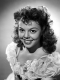 Jean Porter Portrait in White Frilled Sheer Lace Top Shoulder Dress Photo by  Movie Star News