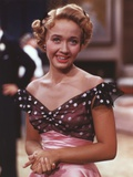 Jane Powell Close Up Portrait in Black Polka Dot Shoulder Dress with Hand Held Together Photo by  Movie Star News