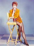 Juliet Prowse Leaning on Chair in Long Shirt Photo by  Movie Star News