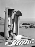 Jean Parker on a Seashore Lying on a Stripe Cloth Photo by  Movie Star News