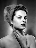 Martha Hyer on See Through Hat and Hand on Neck Photo by  Movie Star News