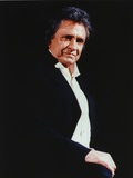 Johnny Cash wearing a Black Suit with White Undershirt Photo by  Movie Star News