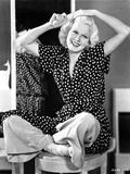 Jean Harlow Seated in Black Polka Dot Dress Photo by  Movie Star News
