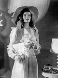 Katharine Hepburn posed in White Dress with Hat Photo by  Movie Star News