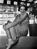 Maureen O'Sullivan on a Stripe Dress sitting Photo by  Movie Star News