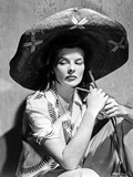 Katharine Hepburn Pose in Black Hat in Black and White Photo by  Movie Star News