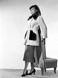 Marie Windsor Looking Away in White Coat with Heels Photo by  Movie Star News