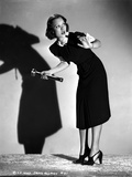 Jane Wyman Posed in Black Velvet Short Sleeve Dress with White Ruffle Collar and Sleeves with Right Photo by  Movie Star News