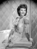 Mary Martin on an Embroidered Dress smiling and sitting Photo by  Movie Star News