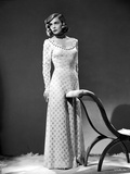 Lizabeth Scott posed on Gown in Black and White Portrait Photo by  Movie Star News