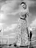 Martha Hyer on Printed Dress Portrait Photo by  Movie Star News