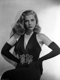 Lizabeth Scott Posed in Black Gown with Gloves Photo by  Movie Star News