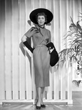 Jane Wyman Posed in Grey Short Sleeve Folded Top Silk Dress and Black Velvet Gloves with Black Hat  Photo by  Movie Star News