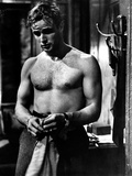 Marlon Brando Movie Scene with Man Topless in Black and White Photo by  Movie Star News
