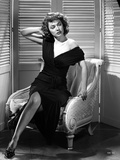 Ruth Roman Posed on Chair in Black Gown Photo by  Movie Star News