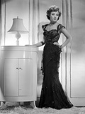 Laraine Day posed wearing Black Dress in Black and White Photo by  Movie Star News
