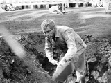 Paul Newman Shoveling Garbage in Formal Outfit Black and White Photo by  Movie Star News
