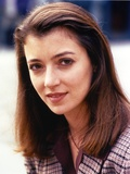 Mia Sara in Blue Stripe Long Sleeve Close-up Portrait Photo by  Movie Star News