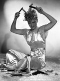 Penny Singleton Seated wearing Silk Dress Combing Her Hair Foto af  Movie Star News