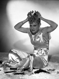 Penny Singleton Seated wearing Silk Dress with Hands on top of Head Photo af Movie Star News