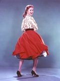 Shirley Jones Posed in White Long Sleeve Bodice and Red Velvet Flared Skirt Photo by  Movie Star News
