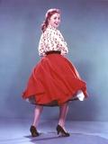 Shirley Jones Posed in White Long Sleeve Bodice and Red Velvet Flared Skirt Photo by  Movie Star News