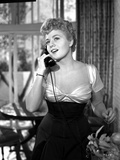 Shelley Winters wearing a Scoop-Neck Dress and Answering the Phone in a Classic Portrait Photo by  Movie Star News