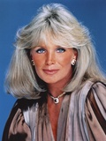 Linda Evans Blue Background Close Up Portrait Photo by  Movie Star News