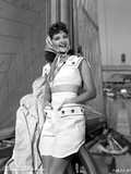 Mary Martin wearing a White Dress and a Scarf on Her Head Photo by  Movie Star News