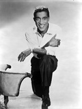 Sammy Davis Kneeling in White Long sleeve With Arm's Leaning on Knee Photo by  Movie Star News