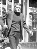 Steve McQueen Topless in Black and White Candid Portrait Photo by  Movie Star News