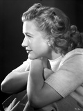 Priscilla Lane Facing to the side in Casual Shirt Black and White Portrait Photo by  Movie Star News