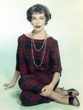 Phyllis Kirk Seated on Floor in Red Checkered Dress Portrait with White Background Photo by  Movie Star News