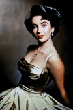 Elizabeth Taylor Posed in Silver Dress Portrait Photo by  Movie Star News