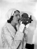 Ruth Roland in White Fur Coat with Camera Photo by  Movie Star News