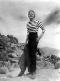 Shelley Winters Posed in White Stripe Long Sleeve Shirt and High Waist Black Long Pants Photo by  Movie Star News
