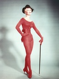 Yvette Mimeaux Posed in Red Tight Dress with Hat Photo by  Movie Star News