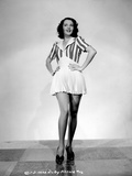 Ruby Keeler on Printed Dress and Hands on Waist Photo by  Movie Star News