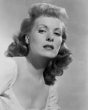 Maureen O'Hara Close Up Portrait wearing White Blouse in Black and White Photo by E Bachrach