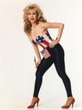 Rhonda Shear Posed Holding American Flag in Red Heels Photo af Movie Star News