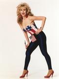 Rhonda Shear Posed Holding American Flag in Red Heels Photo af  Movie Star News