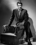 Gregory Peck Siting on Couch in Tuxedo Black and White Portrait Photo af E Bachrach