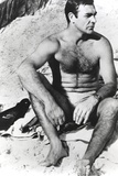 Sean Connery sitting in White Underwear with Hairy Chest Photo by  Movie Star News