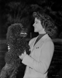 Katharine Hepburn in Black and White Portrait Face to Face with Dog Photo by A Kahle