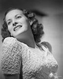 Maureen O'Hara Close Up Portrait wearing White Dress Photo by E Bachrach